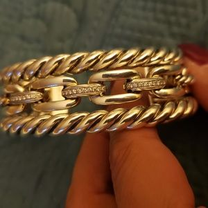 Wellesley Link Three-Row Cuff with Diamonds
